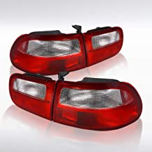 Autozensation For Honda Civic 2DR Hatchback Red/Clear Tail Lights Rear Brake Lamp Pair