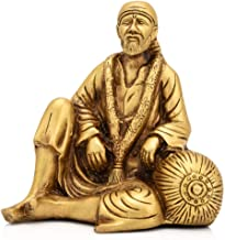 Brass Shirdi Sai Baba Statue Decorative Spiritual Puja Gifts Idol Showpiece Figurine (5.5 x 5.5 Inch, Large)
