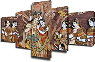 Indian Painting Krishna and Radha Pictures 5 Piece Canvas Wall Art Modern Artwork Home Decor for Living Room Giclee Framed Gallery-wrapped Stretched Ready to Hang Posters and Prints(50''Wx24''H)