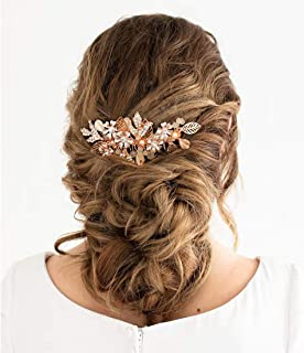 SWEETV Rose Gold Wedding Hair Comb Flower Bridal Hair Accessories Rhinestone Side Comb for Bridesmaid