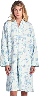 Casual Nights Women's Floral Quilted Long Sleeve Zip Up House Dress Robe