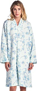 Women's Floral Quilted Long Sleeve Zip Up House Dress Robe