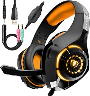 Auriculares con cable naranja para juegos PS4, auriculares para PC sobre la oreja como regalo, auriculares para gamer con micrófono con cancelación de ruido, luz LED, sonido envolvente de graves 3D, almohadilla de espuma viscoelástica para Mac, portátil, móvil
