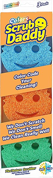 Scrub Daddy Scratch Free Color Sponge With Flex Texture 3 Pack