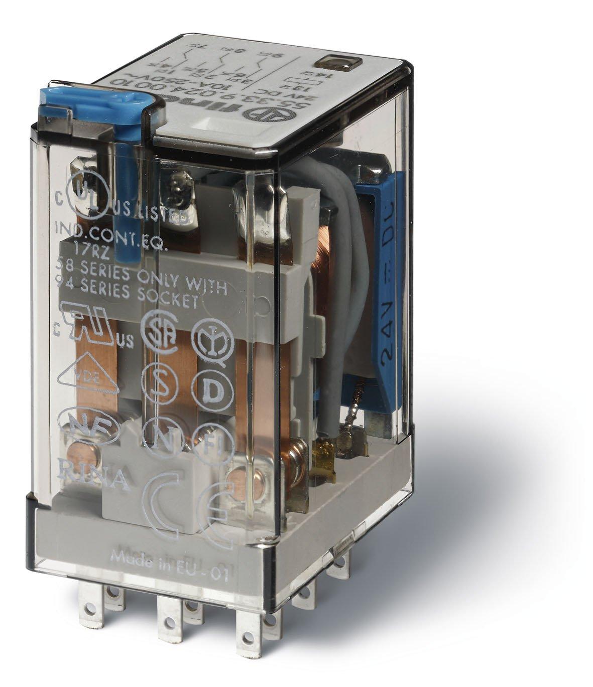 Finder serie 55 - Rele industrial 24vac 3 contactos 10a pulsador