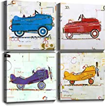 Wall Art for Boys Room Kids Gifts Wall Decor Cute Cartoon Cars Airplane Canvas Prints Hand Painted Style Painting Pictures Framed Artwork Children's Playroom Home Decoration Set of 4 Panels 12