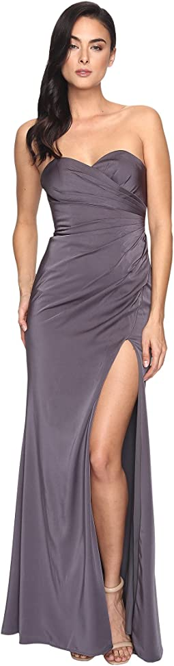 Faviana Faille Satin Strapless w/ Side Draping 7891