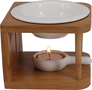 Singeek [Upgraded] 100ML Ceramic Essential Oil Burner,Wax Melt Warmer with Tea Light Holder,Cool Home Fragrance Diffuser for Spa Yoga Meditation (Bamboo Wood)