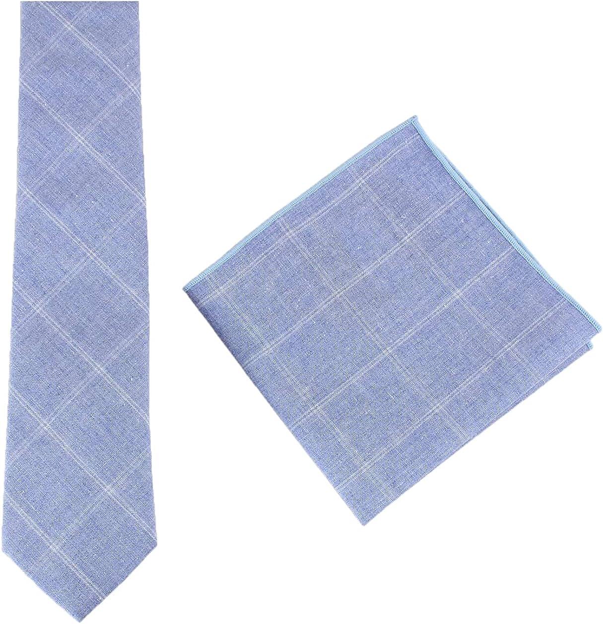 Knightsbridge Neckwear Mens Cotton Tie and Pocket Square Set - Light Blue