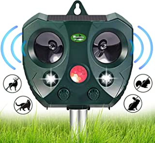 Solar Ultrasonic Animal Repellent Outdoor- Waterproof Garden Deer Away Repeller for Trees, Solar Powered Motion Sensor Activated Rodent Deterrent Anti Squirrel, Cat, Rabbit - Racoon, Skunk Device