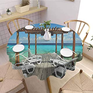 HouseLookHome Travel Outdoor Tablecloth Beach Sunbeds Ocean Sea Scenery with Wooden Seem Pier Image Print Table Cloth for Dining Room 67 Inch Round Blue White and Pale Brown