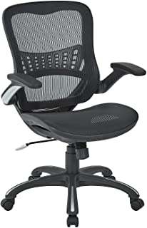 Office Star Mesh Back & Seat, 2-to-1 Synchro & Lumbar Support Managers Chair, Black