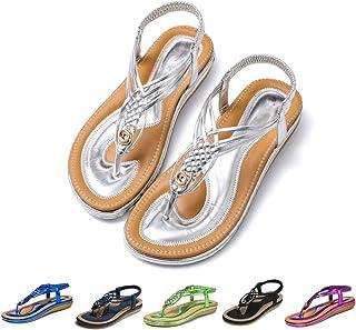 gracosy Women Summer Flat Sandals Bohemian Ankle Strap Thongs Clip Toe Slingback Sandals Beach Walking Flip Flops Dress Shoes