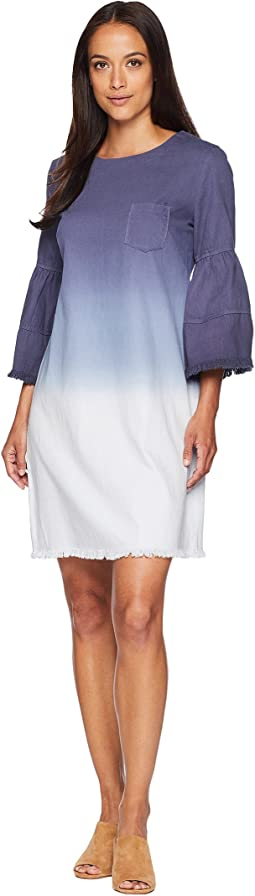 American Rose Quinn Ruffle Sleeve Denim Pocketed Dress
