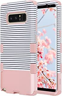 ULAK Galaxy Note 8 Case, Soft Silicone Bumper Anti Slip Dust Scratch Shock Resistance Protective Hard PC Cover for Samsung Galaxy Note 8 (Rose Gold Stripes)