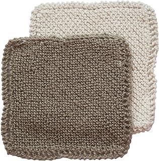 Toockies Hand knit Organic Cotton & Jute Scrub Cloths in Vintage Dish Cloth Pattern- 2 pack