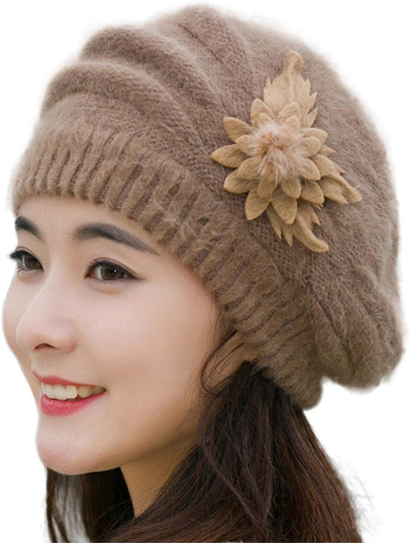 Mocraser Winter Beret Cap Womens Flower Knit Crochet Beanie Hat Winter Warm Cap Ski Hat Ear Cap