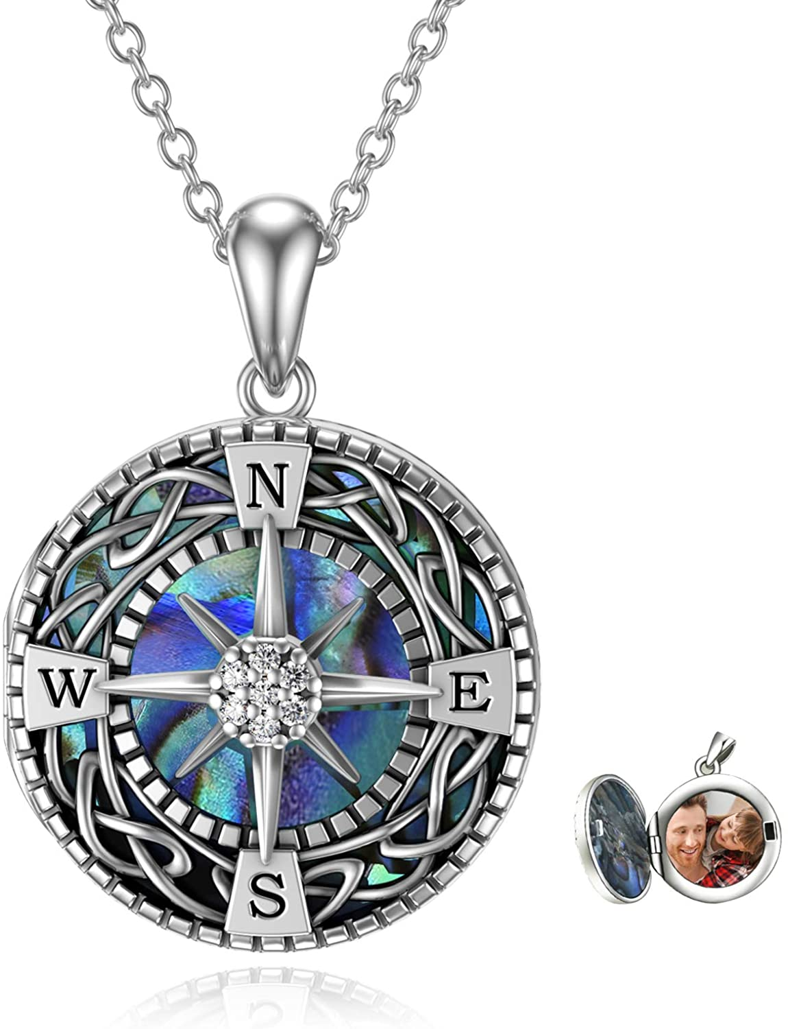 URONE Compass Super sale Locket Necklace That S Ranking TOP2 Pictures Holds Personalized