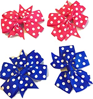 """XLdreams Imported pair of 2 Colorful POLKA-DOTS Grosgrain Ribbon 3"""" Hair Bows with Alligator Clips - (All Different Color..."""