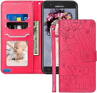 Galaxy J7 Crown Case,Galaxy J7 Star Case,Galaxy J7 Refine/J7 2018 Case,JanCalm [Elephant Pattern][Folio Cover][Kickstand][Wrist Strap] Credit Card Holder Wallet Flip Case + Side Pocket (Red/Rose)
