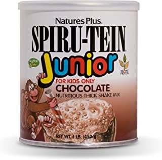 NaturesPlus SPIRU-TEIN Junior Shake for Kids - Chocolate - 1.09 lbs, Spirulina Protein Powder - Whole Food Plant Based, Vitamins & Minerals for Energy - Vegetarian, Gluten-Free - 15 Servings