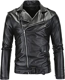 LANBAOSI Men's Leather Motorcycle Biker Jacket Police Style Faux Leather Jackets
