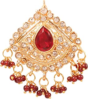 NEW! Touchstone Indian Bollywood Impressive Studded Look Fine Grain Work Faux Ruby White Rhinestone Beads Designer Bridal ...