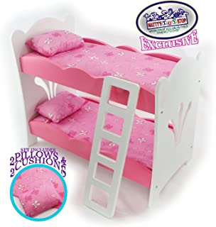 Matty's Toy Stop 18 Inch Doll Furniture Pink/White Wooden Bunk Beds with 2 Pillows, 2 Cushions & Ladder - Fits American Girl Dolls