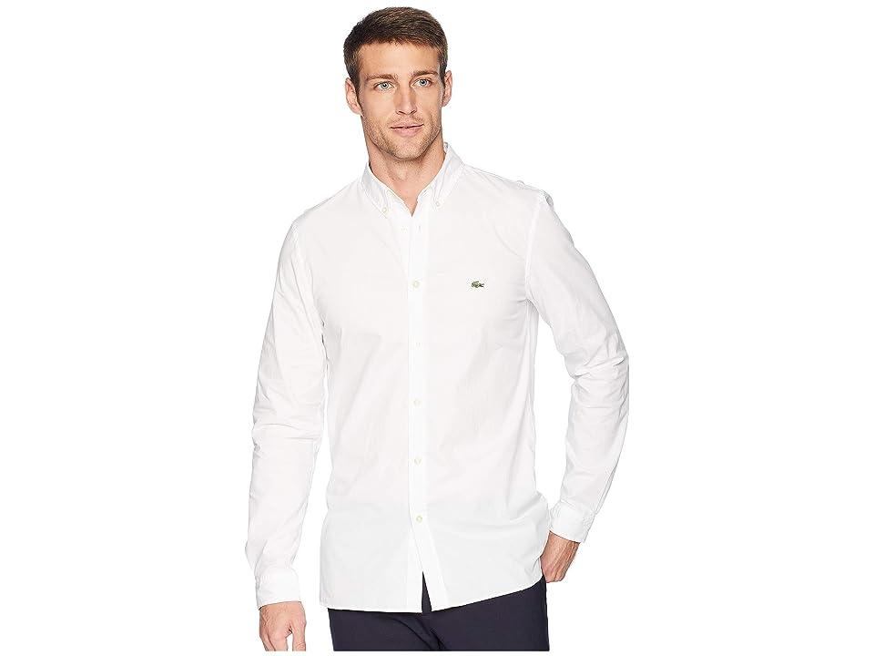 Lacoste Long Sleeve Solid Poplin Stretch Button Down Collar Slim (White) Men