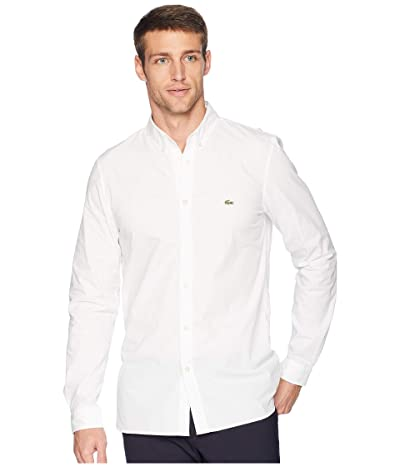 Lacoste Long Sleeve Solid Poplin Stretch Button Down Collar Slim (White) Men