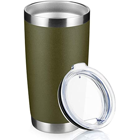 20oz Tumbler with lid, Stainless Steel Double Wall Vacuum Insulated Travel Mug, Durable Powder Coated Coffee Cup, Stainless steel (Army Green, 1pack)