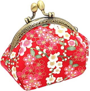Matoen Women Girls Printing Flower Snacks Coin Purse Wallet Bag Change Pouch Key Holde Women's Semi-Circle Cherry Blossom Handmade Bag (C)