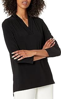 Anne Klein womens 3/4 Sleeve Triple Pleat Top Blouse