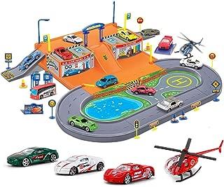 Liberty Imports Super Parking Garage Diecast Racing Playset - 4 Metal Vehicles