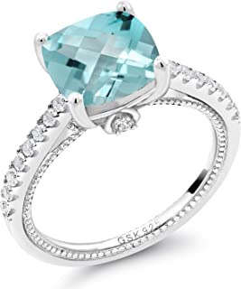 5.42 Ct Cushion Checkerboard Sky Blue Topaz White Created Sapphire 925 Silver Ring