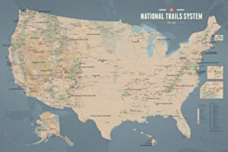 US National Trails System Map 24x36 Poster (Tan & Slate Blue)