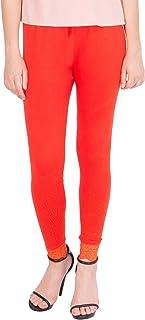 American-Elm Women's Ankle length Cotton Viscose Legging- Dark Orange