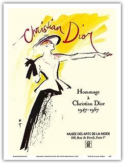 Hommage à Christian Dior 1947-1957 - An exhibit at Musée des Arts de la Mode in Paris - Vintage Museum Poster by René Gruauc.1987 - Master Art Print - 9in x 12in
