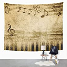Suklly Tapestry Wall Hanging Brown Vintage Music Notes on Old Sheet Yellow Piano Home Decor Polyester Living Bedroom Dorm 50 X 60 Inches Picnic Mat Beach Towel Bed Cover