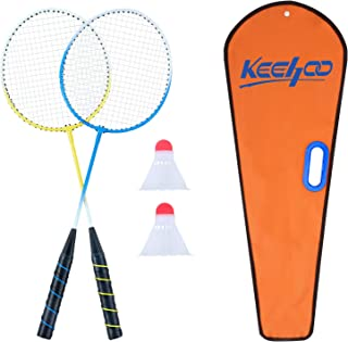 Keehoo 2 Player Badminton Rackets Set, Lightweight & Sturdy, Double Racquets, 2 Shuttlecocks and Carrying Bag Included