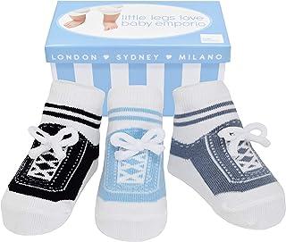 Baby Emporio, 3 pares de calcetines para bebé niño - Suelas antideslizantes - Algodón suave - Con bolsita regalo - Efecto zapatillas - 0-12 meses