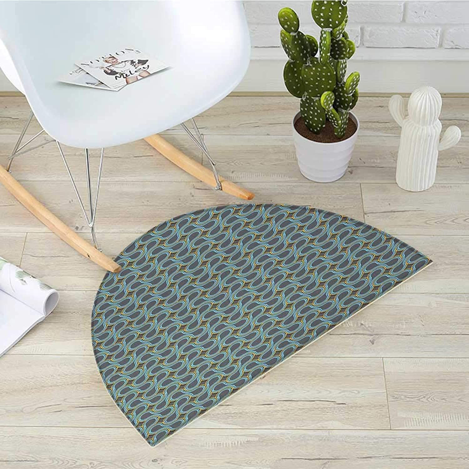Modern Half Round Door mats Geometric Pattern with Twisted Tangled 3D Style Lines Curves and Waves Bathroom Mat H 31.5  xD 47.2  Grey Marigold Pale bluee