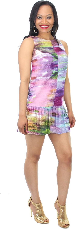 Bar Iii Womens Watercolor Print Dropped Waist Dress