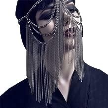 Rhinestone Masquerade Mask Necklace Jewelry for Women CCbodily Halloween Kunoichi Masquerade Mask for Women