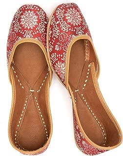 Jivaana Abra Cherry Cheer Leather Juttis for Women