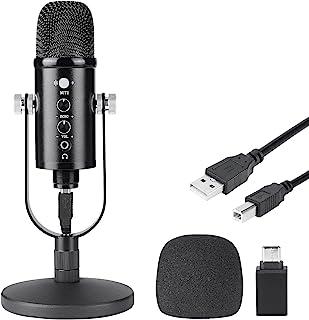 ODAR Micrófono USB Condensador, Micrófono USB con Tripié, Microfono con Soporte para PC, Plug & Play Mic Podcast Micrófono...