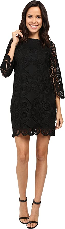 3/4 Sleeve Lace Dress w/ Scallops
