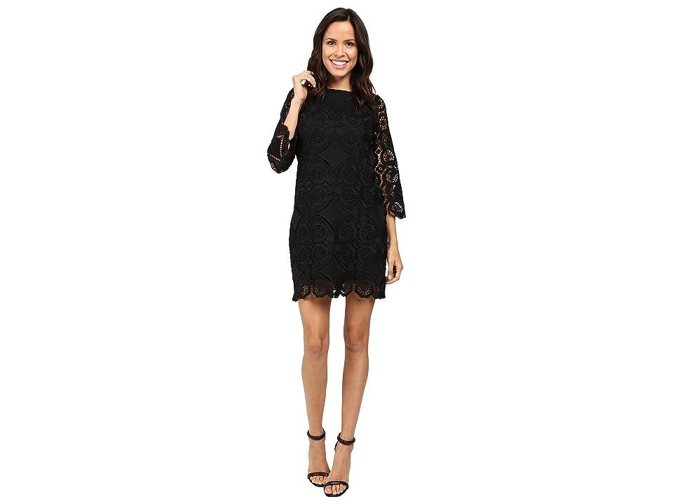 Laundry by Shelli Segal 3/4 Sleeve Lace Dress w/ Scallops (Black) Women