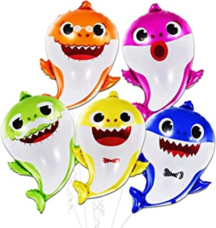 Baby Shark Birthday Party Balloons - 5 Pieces | 25 Inch Big Baby Shark Balloons | Helium Baby Shark Theme Party Balloons |...