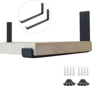 AddGrace Black Iron Shelf Brackets Angle Lip L Type Wall Mounted Support with Screws for Wood Board (Black) 10 inch